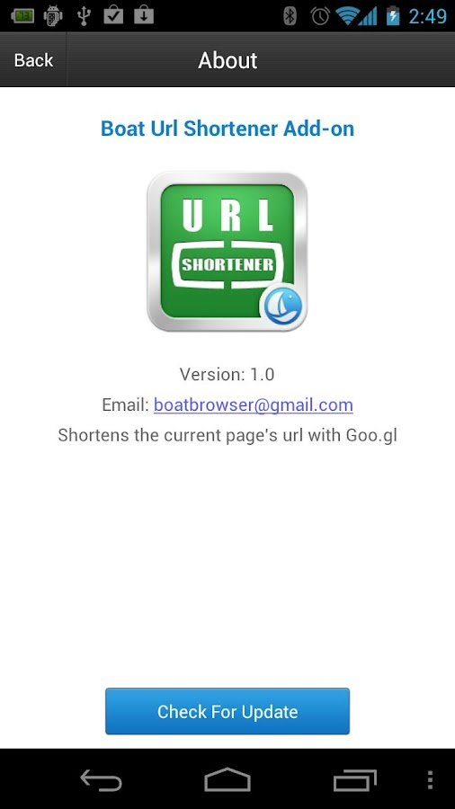 Boat URL Shortener Add-on- screenshot