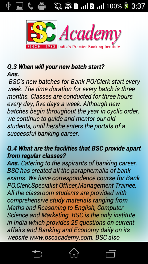 BSC Academy- screenshot