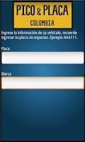 Screenshot of Pico y placa