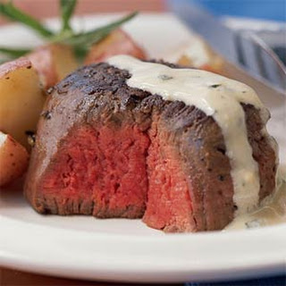 Beef Tenderloin with Mustard-Tarragon Cream Sauce.