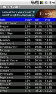 HoN Hero Usage- screenshot thumbnail