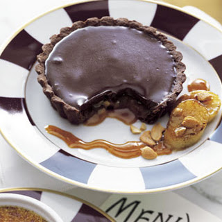 Chocolate-Caramel Tartlets with Roasted Bananas and Ginger-Citrus Caramel