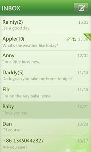 GO SMS Pro simple green theme - screenshot thumbnail