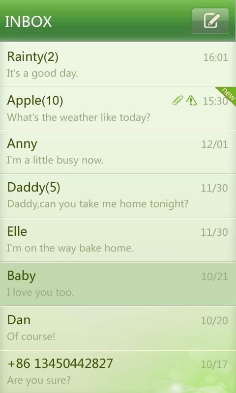 GO SMS Pro simple green theme screenshot #3