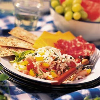Rice Salad with Ham and Tomatoes.