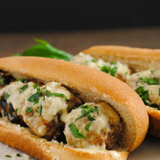 Meatball Subs with Garlic-White Wine Sauce.