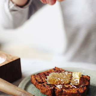 Grilled Pumpkin Bread with Honeycomb.