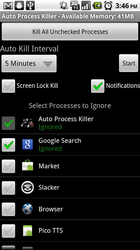 Auto Process Killer Free -1.5+ - screenshot