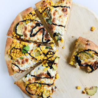 Sweet Corn, Zucchini and Fresh Mozzarella Pizza