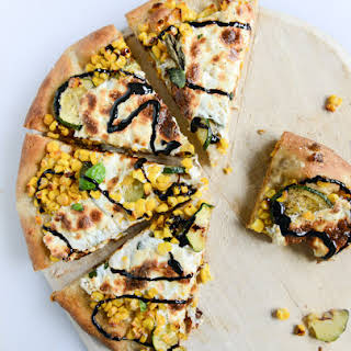 Sweet Corn, Zucchini and Fresh Mozzarella Pizza.