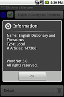 Screenshot of English Dictionary Package