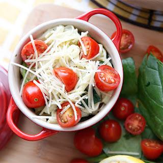 Creamy Spinach & Tomato Linguine.