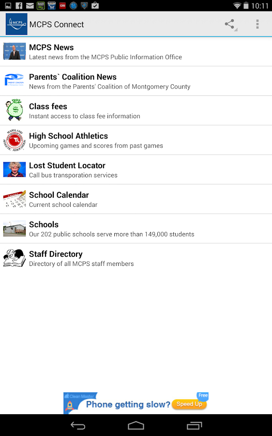 MCPS Connect- screenshot