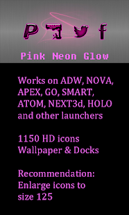 Pink Neon Glow Theme Icon pack