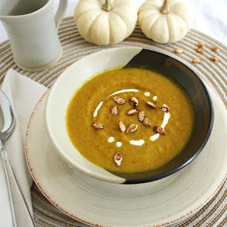 Roasted Butternut Squash & Coconut Curry Soup with Cinnamon Toasted Seeds