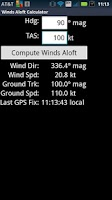 Screenshot of Winds Aloft Calculator