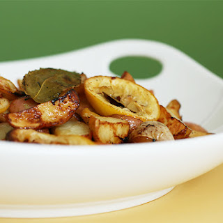 Roasted Baby Red Potatoes With Lemon And Bay Leaves.