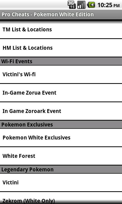 Pro Cheats Pokemon White Edn.- screenshot