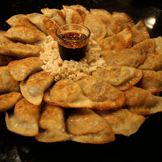 Vegetable Pot Stickers with Dipping Sauce.