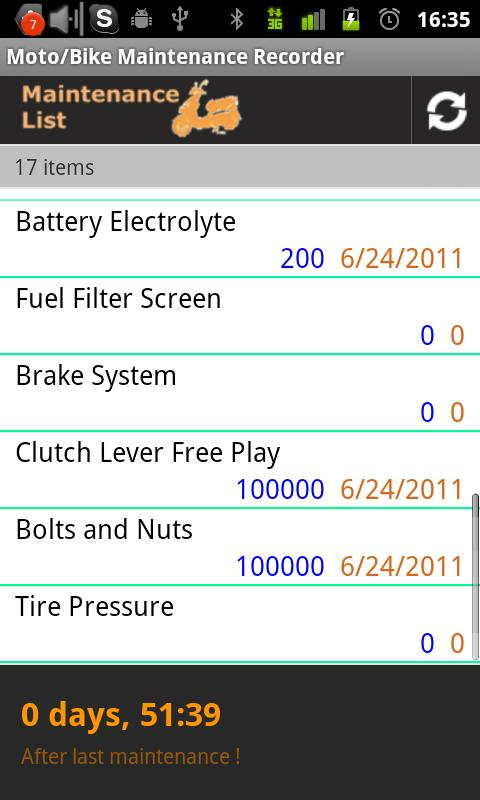 Moto/Bike Maintenance Record - screenshot