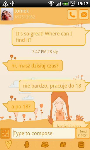 GO SMS Pro Orange Girl Theme