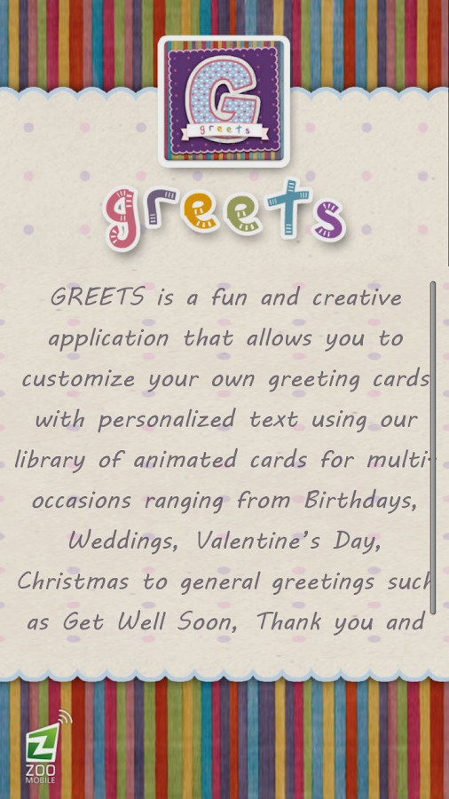GREETS Animated Greeting Card - screenshot