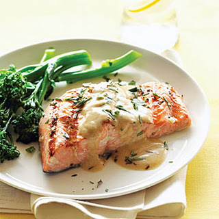 Grilled Salmon with Mustard-Wine Sauce.