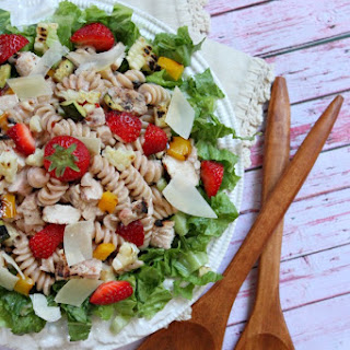 Strawberry- Caesar Grilled Chicken and Vegetable Salad.