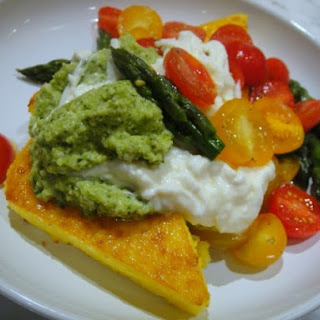Polenta Steaks with Asparagus Pesto, Cherry Tomatoes, and Burrata