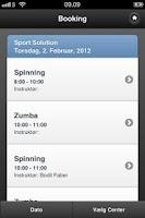 Screenshot of Sport Solution Booking