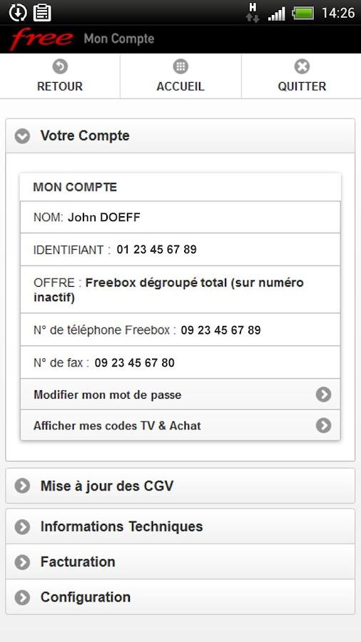 Mon Compte Free - screenshot