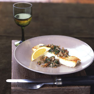 Sauteed Halibut with Pecan Shallot Topping.
