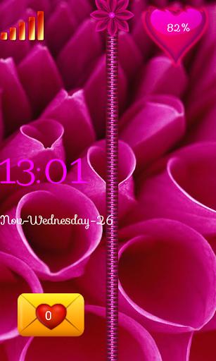 粉紅色的花朵拉鍊鎖