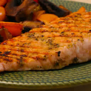 Greek Salmon Cooked in a Grill Pan.