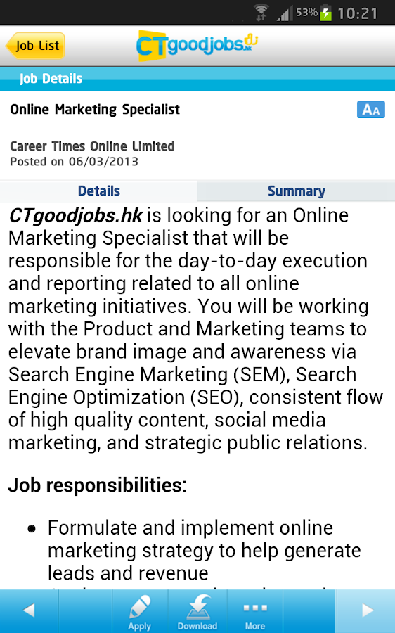 CTgoodjobs - screenshot