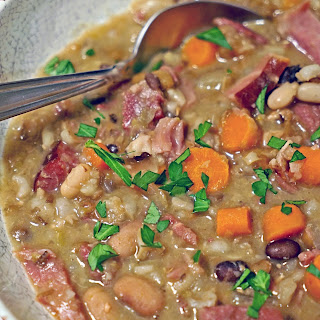 Slow Cooker Smoked Ham Bone Soup with Beans and Barley.