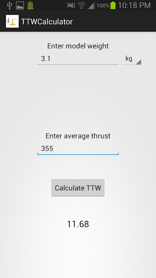 Thrust to Weight Calculator- screenshot