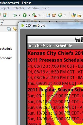 KC Chiefs 2011 Schedule - screenshot