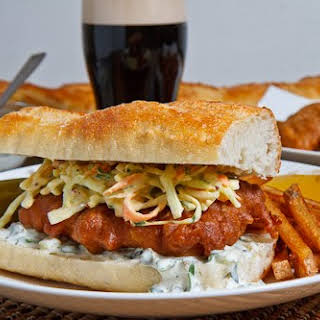 Crispy Beer Battered Fish Sandwich.