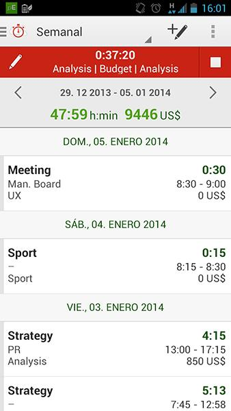 Time Tracking by primaERP: captura de pantalla