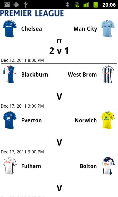 EPL Scores- screenshot