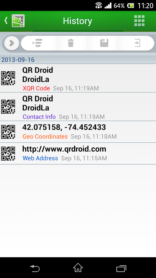 QR Droid Code Scanner (Dansk) – screenshot