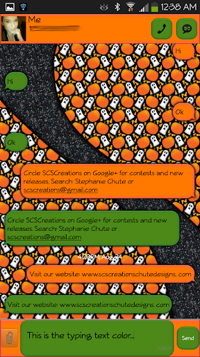 GO SMS - Ghostly Pumpkin