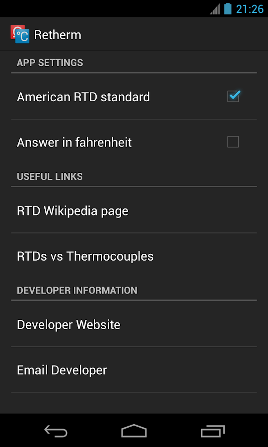 Retherm - RTD & Thermocouples- screenshot