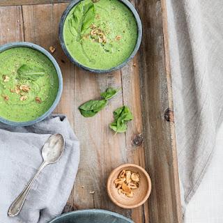 Broccoli + Arugula Soup With Garlic Chips