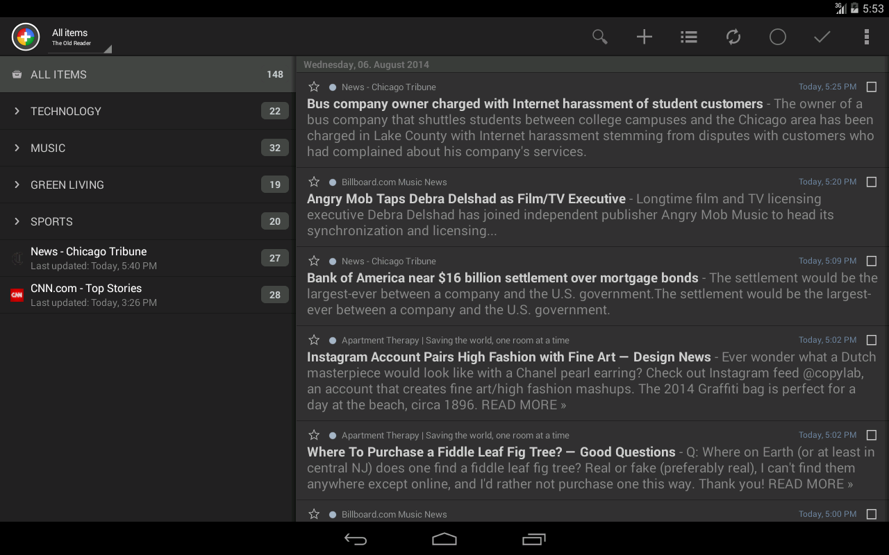 The Old Reader for News+- screenshot