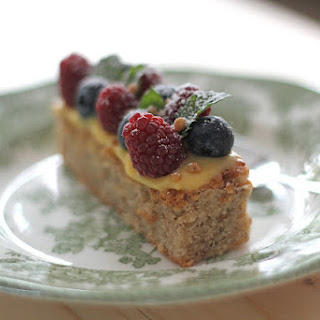 Hazelnut Financier with Lemon Curd and Berries..