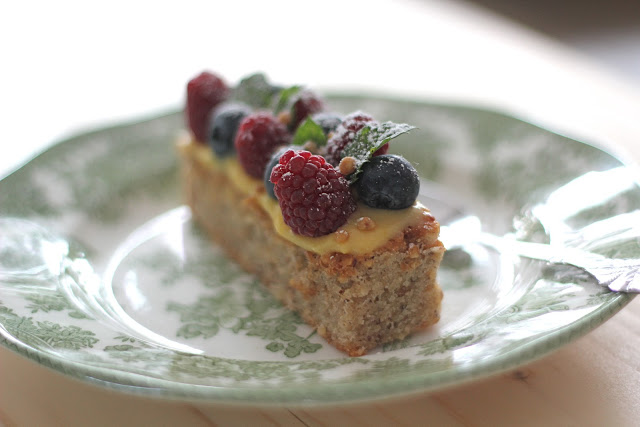 Hazelnut Financier with Lemon Curd and Berries. Recipe