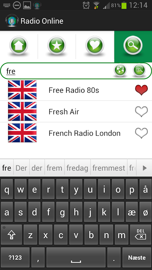 Radio FM via Internet- screenshot