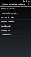 Screenshot of Electronics Student Reference